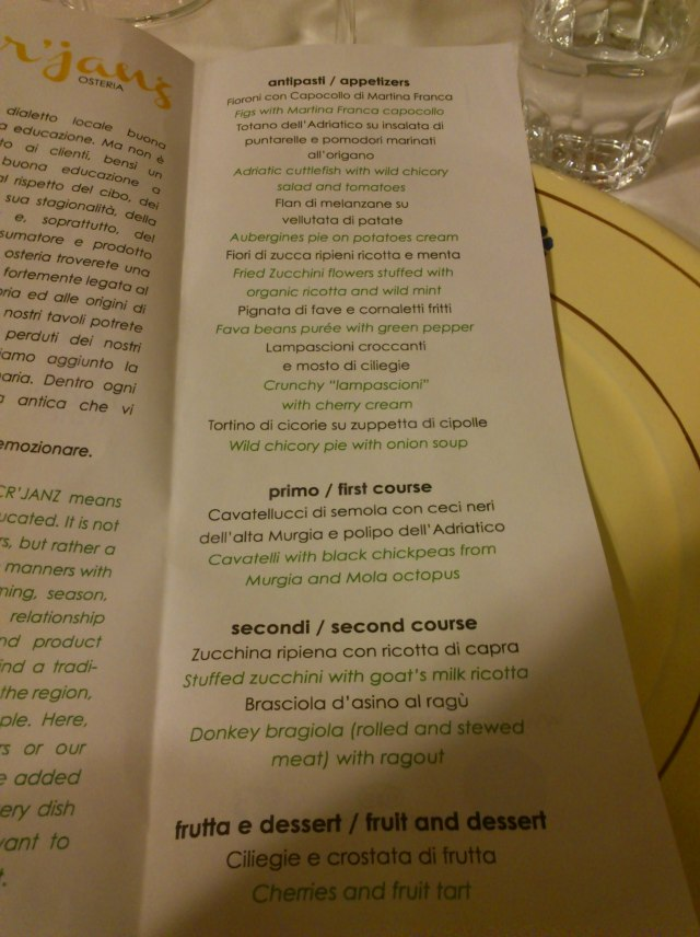 The menu at A' Cr'janz, Putignano for Radici del Sud
