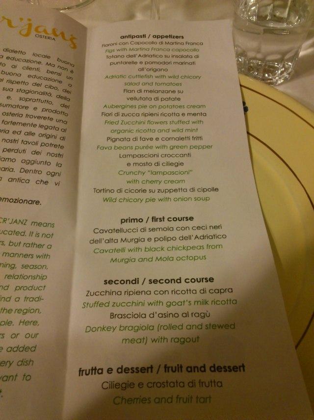 The menu at A' Cr'janz, Putignano for Radici del Sud